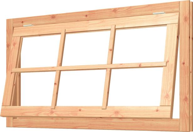 Trendhout | Uitzetraam met kozijn | 143x80.8 cm | Onbehandeld