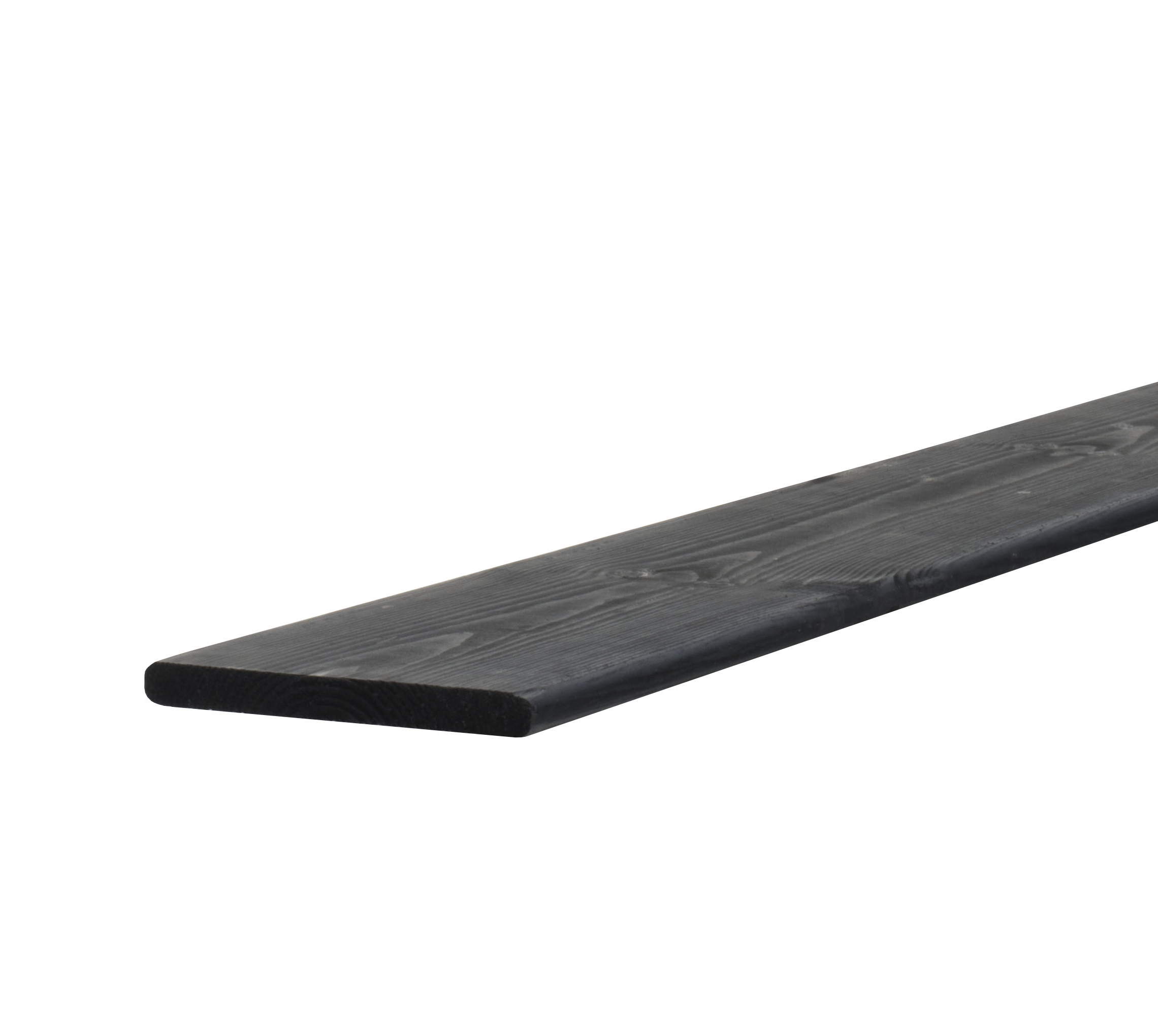 Geschaafde plank grenen | 15 x 140 | Zwart Geïmpregneerd | 180 cm