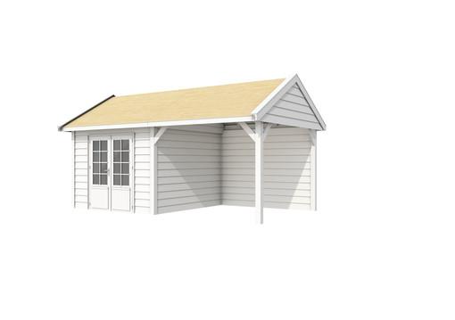 Woodvision | Zweeds Tuinhuis Poolvos | 610 x 372 cm | Basis + Deur wit | Wanden wit gespoten