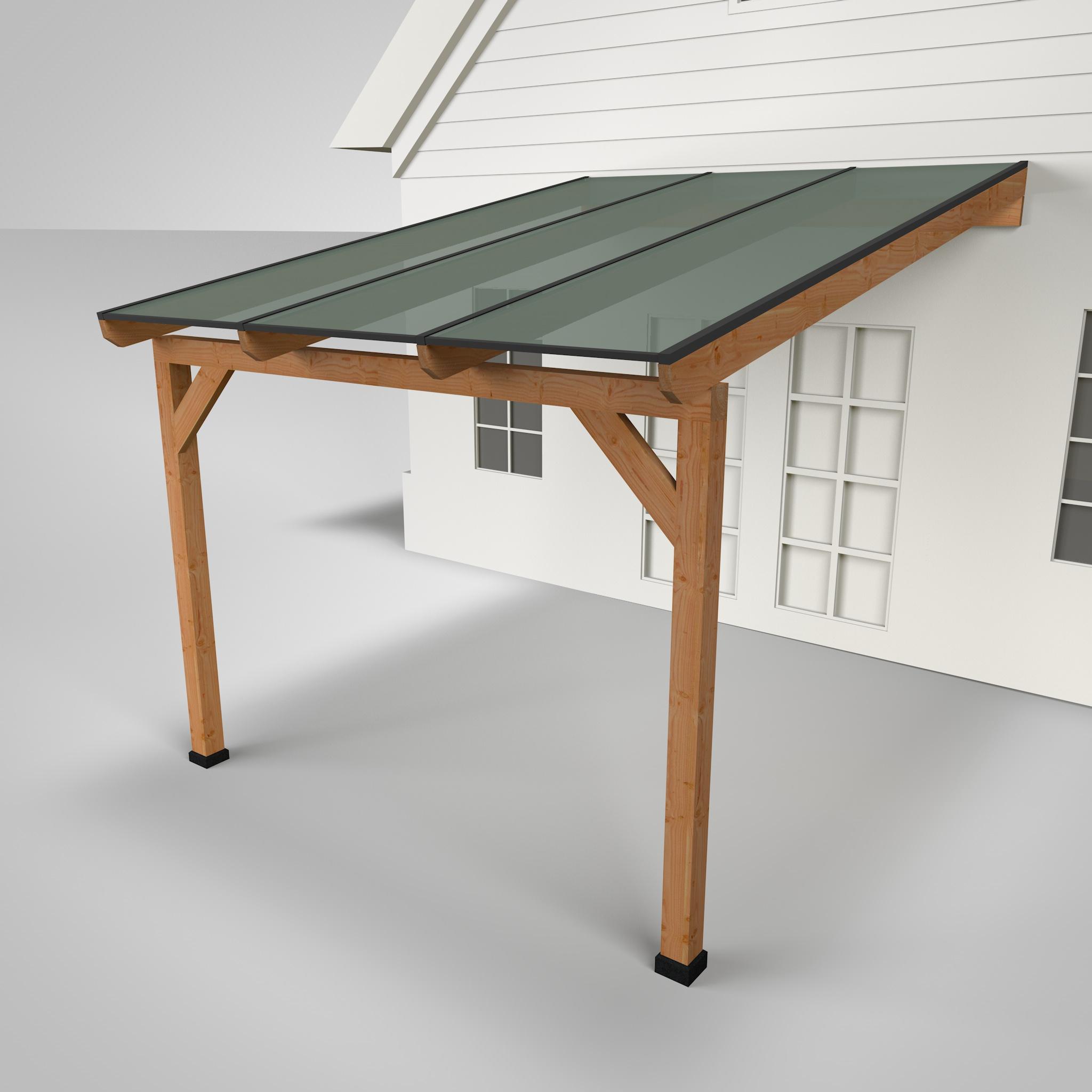 Westwood | Douglas terrasoverkapping | Comfort + | Opaal | Antraciet | 306x350 | Muuraanbouw