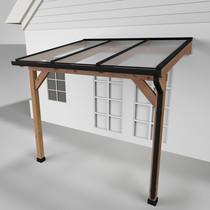 Westwood | Douglas terrasoverkapping | Comfort + | Helder | Antraciet | 306x250 | Muuraanbouw