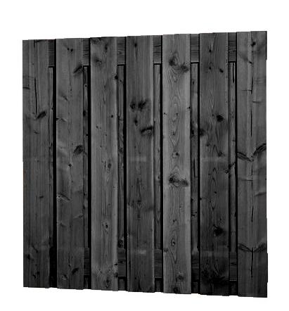 Scherm Douglas Fijnbezaagd | Brede plank | 180 x 180 cm | Zwart geimpregneerd