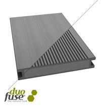 Duofuse | vlonderplank massief | fijn geribbeld / vlak | 28 x 162 | 400cm | Stone Grey