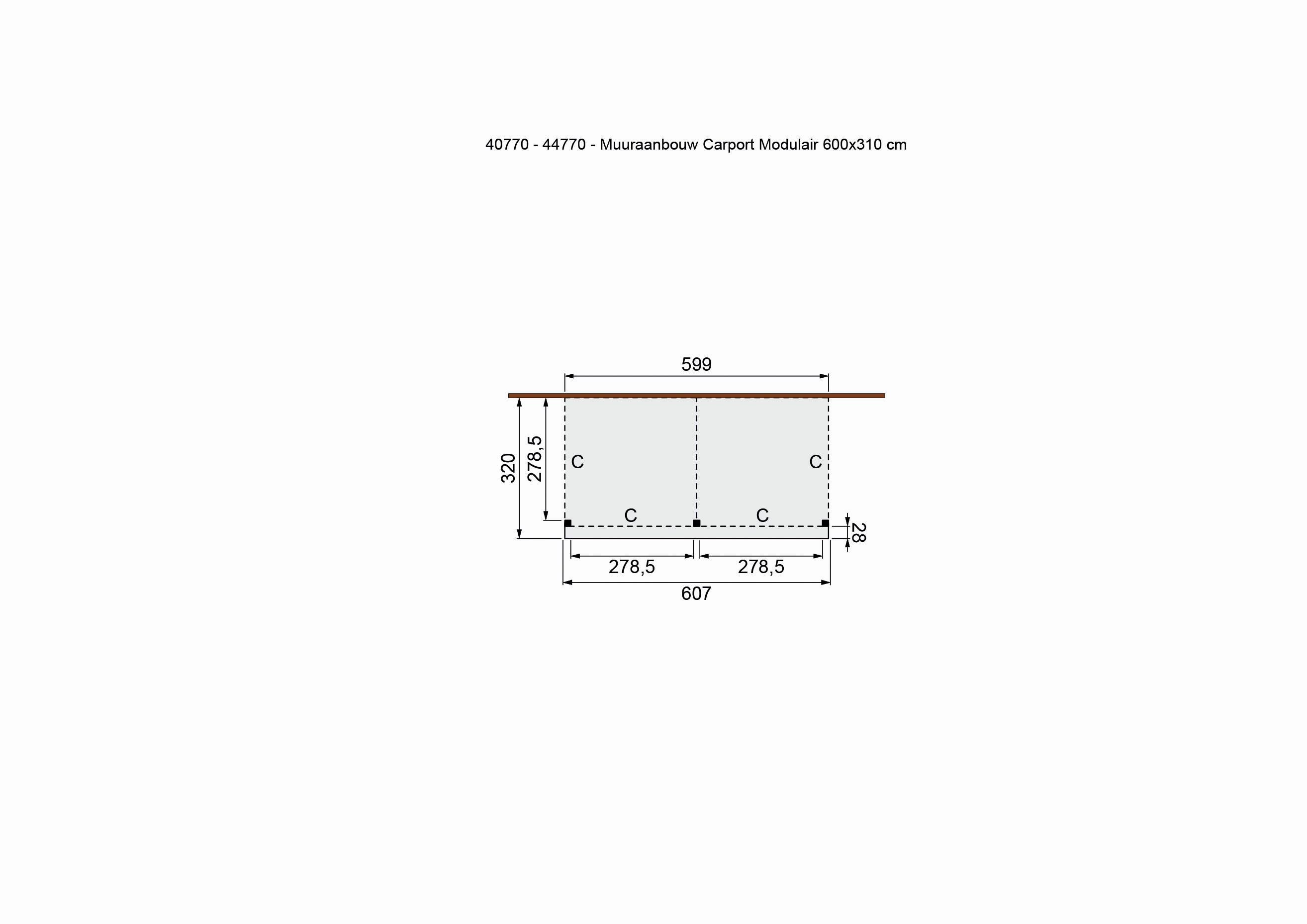 Douglasvision   Carport Zijaanbouw 605 x 320   Geimpregneerd-groen
