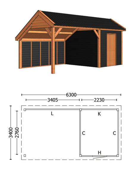 Trendhout | Kapschuur De Deel 6300 mm | Combinatie 3