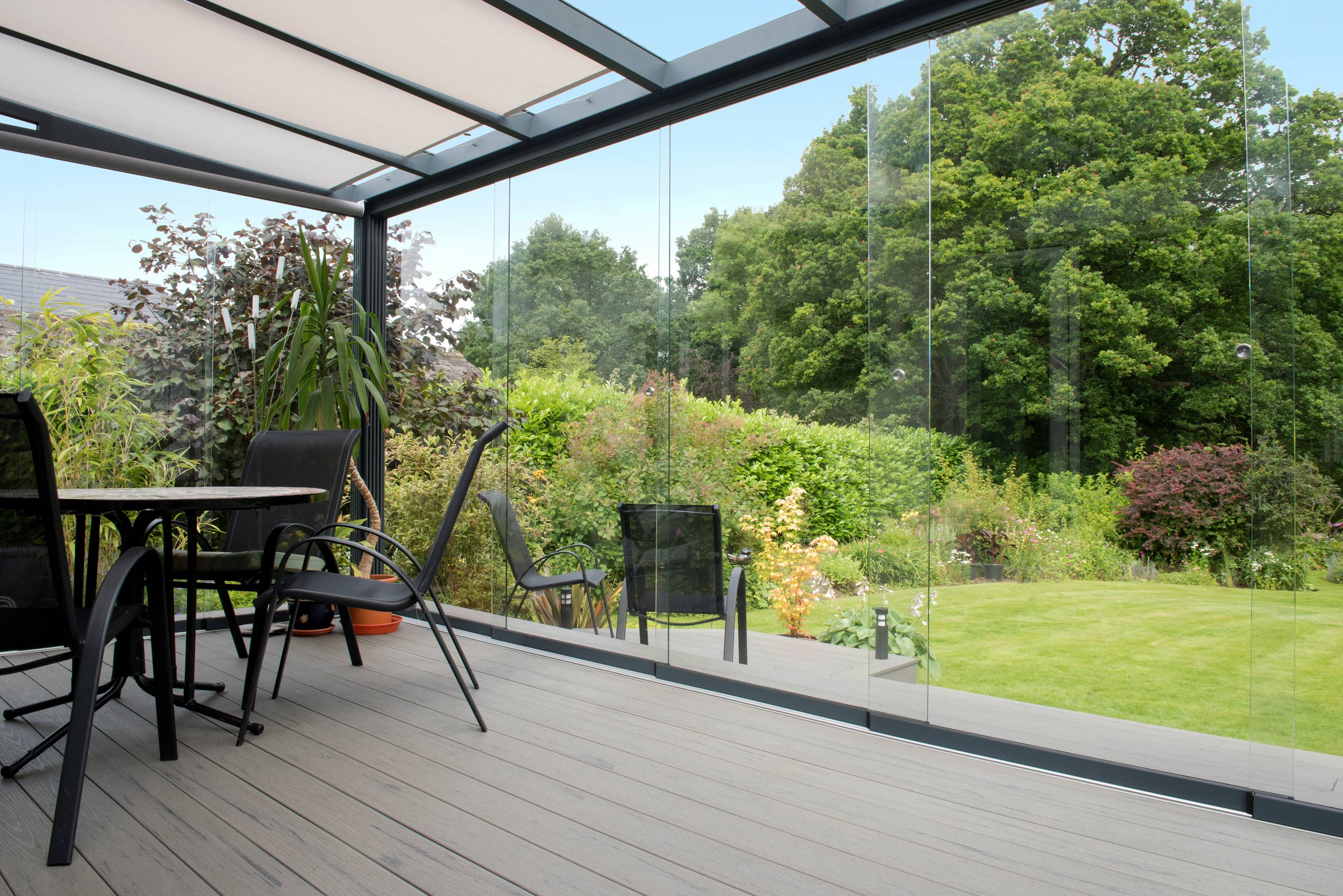 Gardendreams | Glasschuifwanden met 8 mm panelen | 500 cm | 5-rail