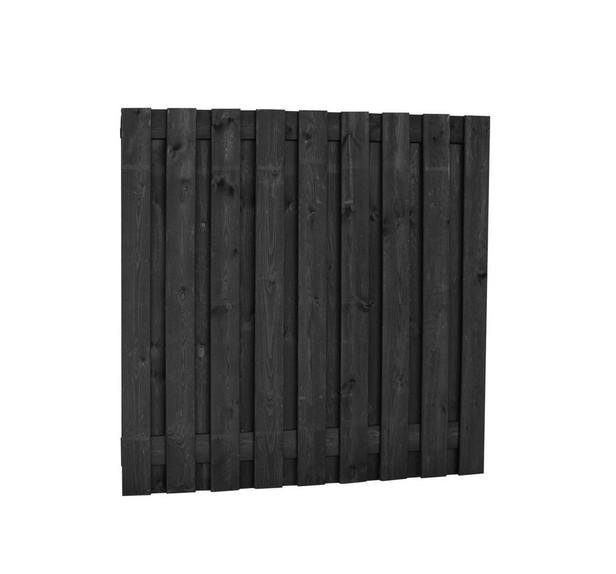 Grenen plankenscherm | 19-planks | 180 x 180 cm | Zwart geimpregneerd