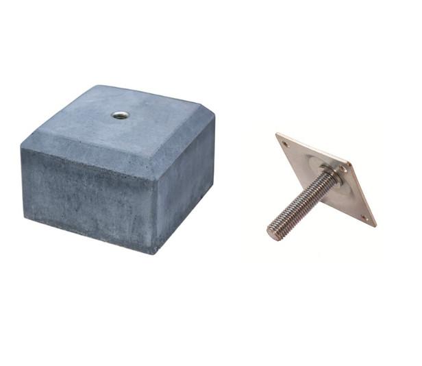 Betontegel met facetrand | 14 x 14 cm voor paal 10-12 cm | Inclusief stelplaat