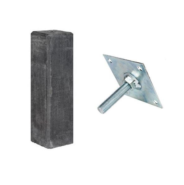 Betonpoer met facetrand | 18 x 18 cm voor paal 14-15 cm | Inclusief stelplaat