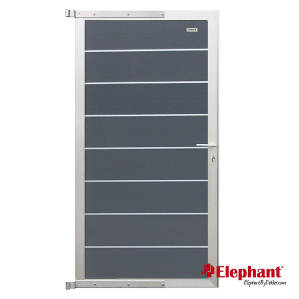 Elephant   Tuindeur Modular   90x180 cm   Rock Grey/Aluminium
