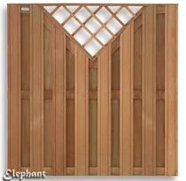 Elephant | Kempas plankenscherm met trellis | 180 x 180 cm