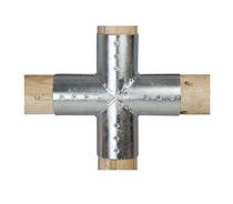 Paal verbinder 4-weg verbindingsstuk | 120 mm | 2-delig
