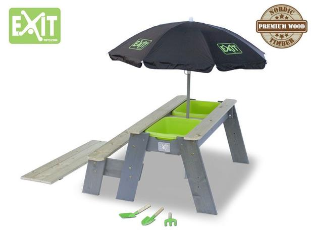 EXIT | Aksent Zand-,Water- en Picknicktafel (1 bankje) + EXIT Parasol /+EXIT Garden Tools