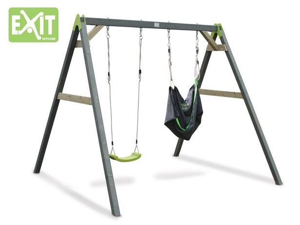 EXIT | Aksent Duoschommel (2 zitjes) + EXIT Swingbag Green (1x)