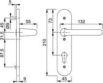 Vastdraaibaar-beslag (ovaal)z/slg 138L/3056rf