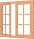 Trendhout | Vleugelraam dubbel met kozijn | 151.5x143 cm | Onbehandeld