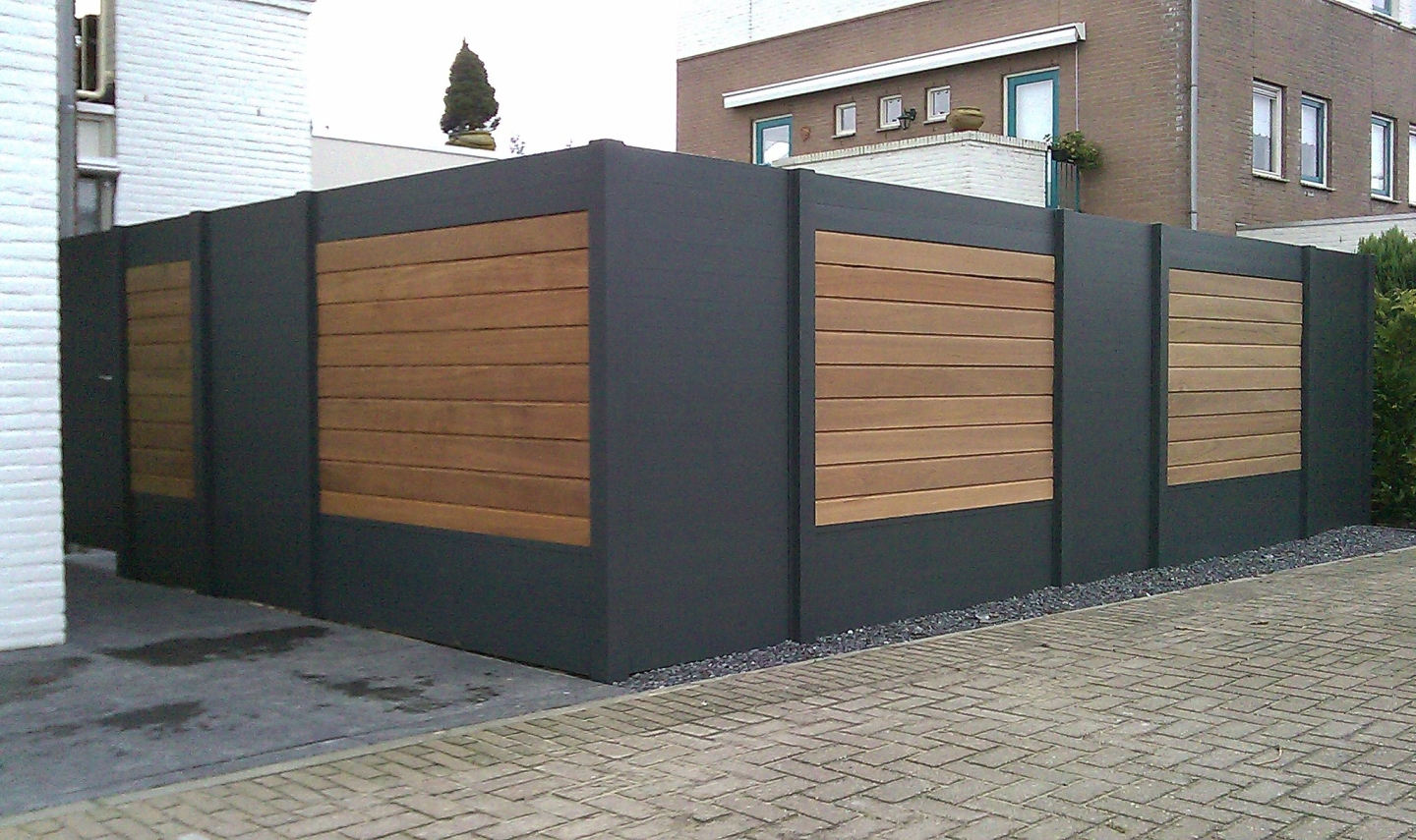 IdeAL scherm | Antraciet- Bangkirai | 180x180 | 9 planks
