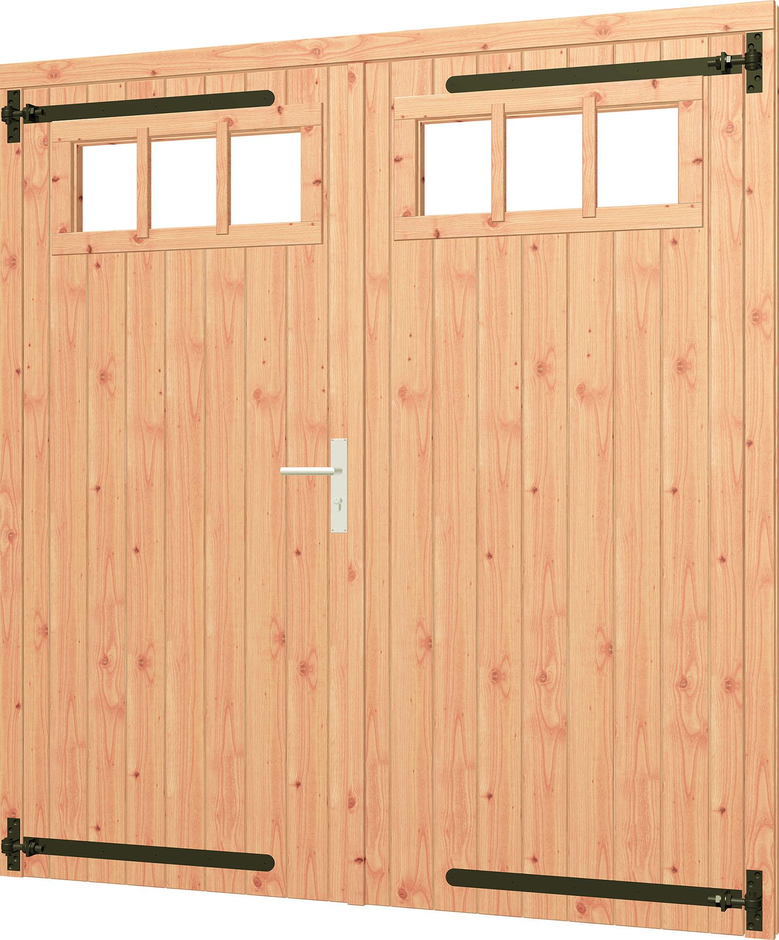 Trendhout   Opgeklampte dubbele deur met bovenraam