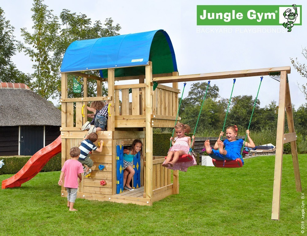 Jungle Gym Farm Playhouse 2 Swing DeLuxe Blauw