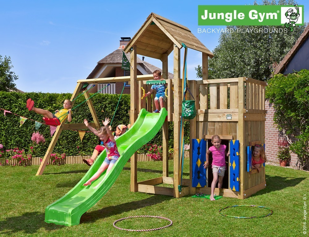 Jungle Gym | Mansion + Playhouse + 2 Swing | DeLuxe | Paars