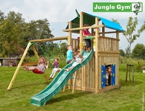 Jungle Gym | Fort + Playhouse + 2 Swing Xtra | DeLuxe | Blauw