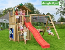 Jungle Gym | Chalet + Playhouse + 2 Swing Xtra | Blauw