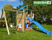 Jungle Gym | Lodge + Playhouse + 2 Swing | DeLuxe | Blauw