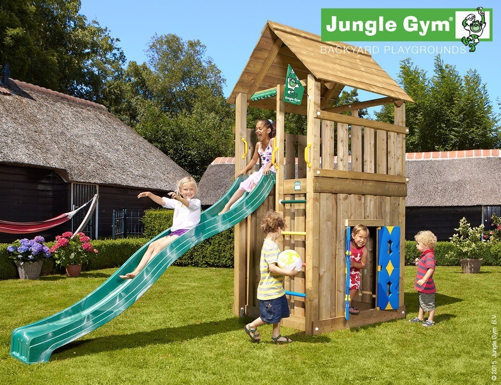 Jungle Gym | Cabin + Playhouse | DeLuxe | Donkergroen