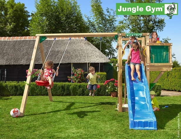Jungle Gym | Tower + Balcony + 2-Swing | DeLuxe | Blauw