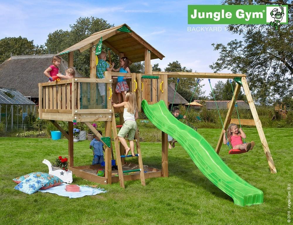 NuBuiten.nl.  Jungle Gym | Chalet Balcony 2 Swing Xtra | DeLuxe | Donkergroen