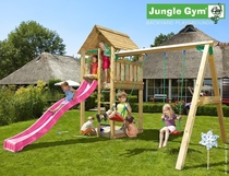 Jungle Gym | Cabin + 2-Swing X'tra | DeLuxe | Blauw