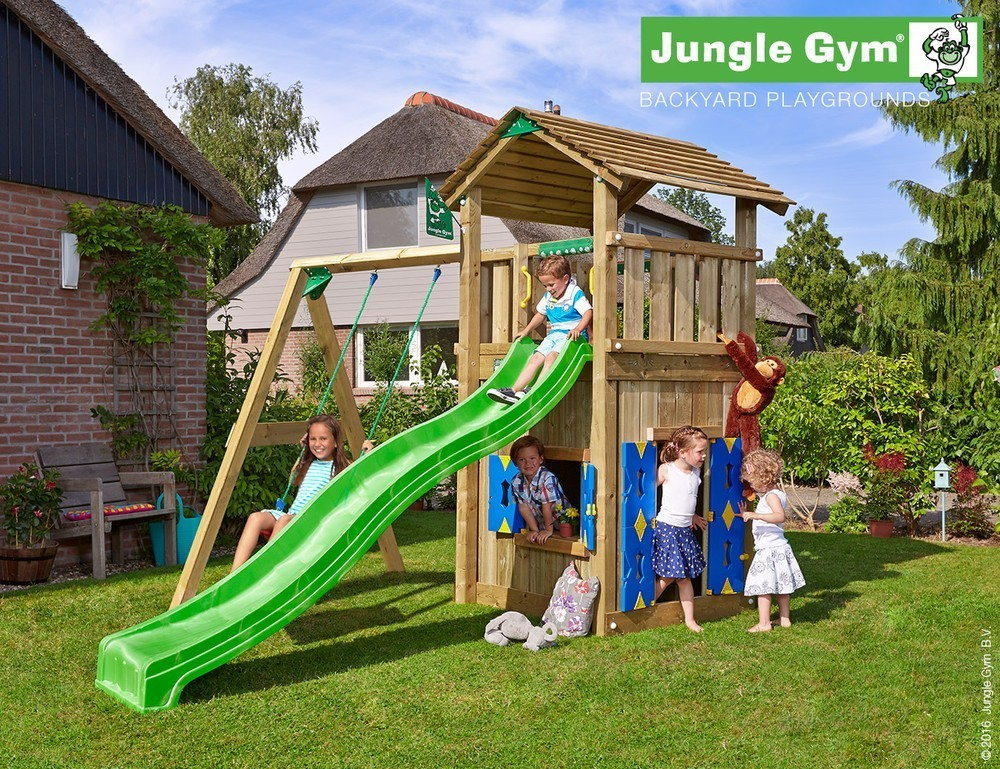 Jungle Gym | Cottage + Playhouse + 1-Swing | DeLuxe | Paars