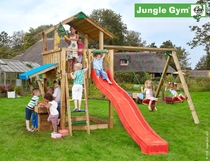 Jungle Gym | Chalet + Mini Market + 2-Swing X'tra | DeLuxe | Blauw