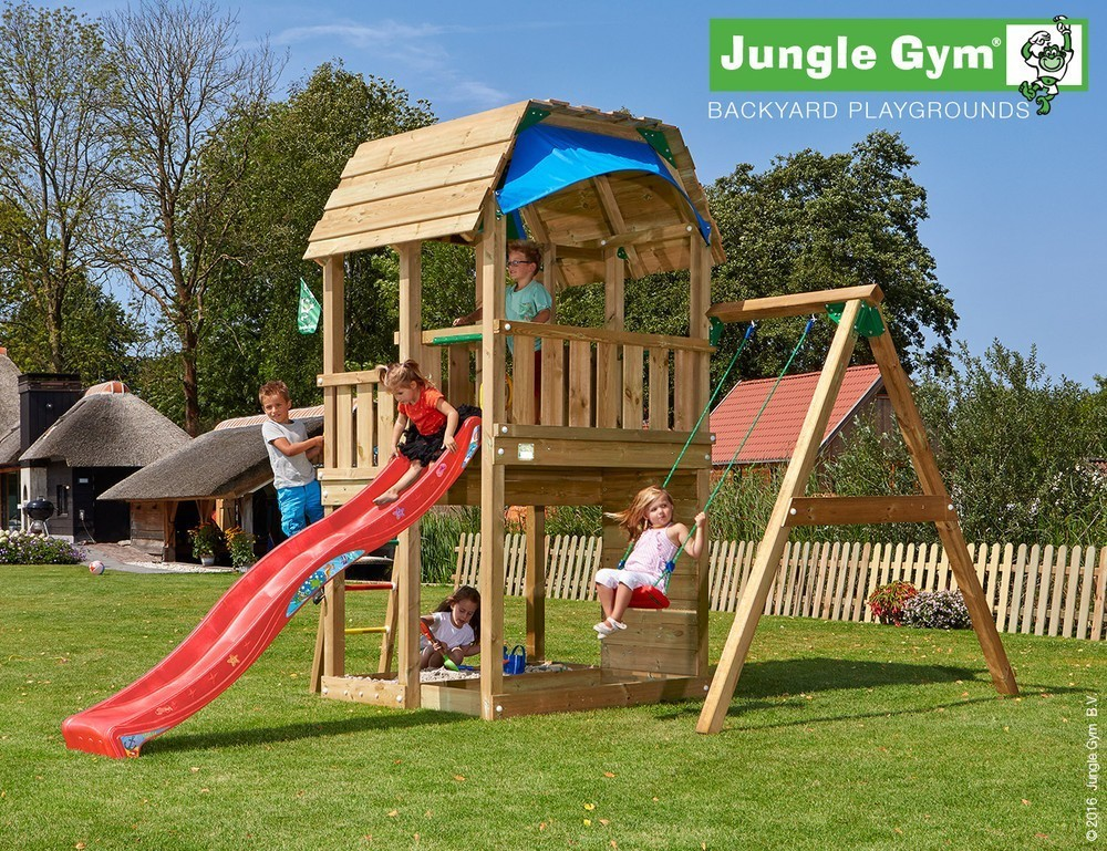 Jungle Gym Barn 1 Swing Module Xtra DeLuxe Rood