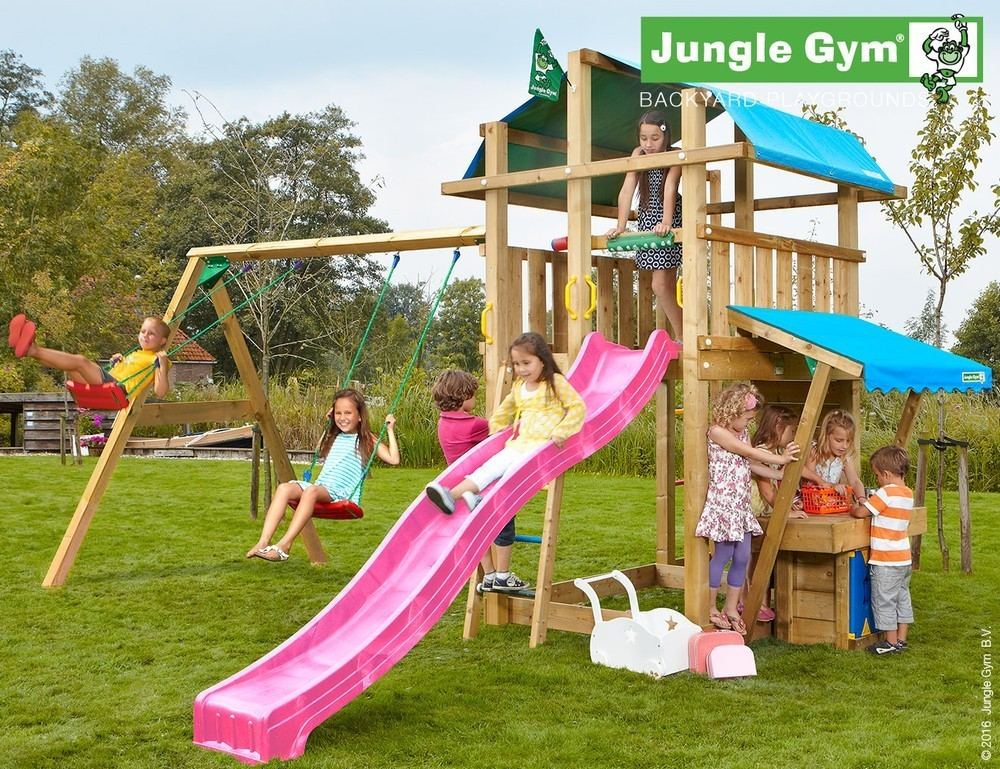 Jungle Gym | Fort + Mini Market + 2-Swing Module X'tra | DeLuxe | Paars