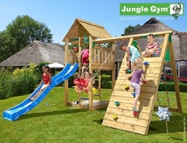 Jungle Gym | Cabin + Climb Module X'tra | DeLuxe | Blauw