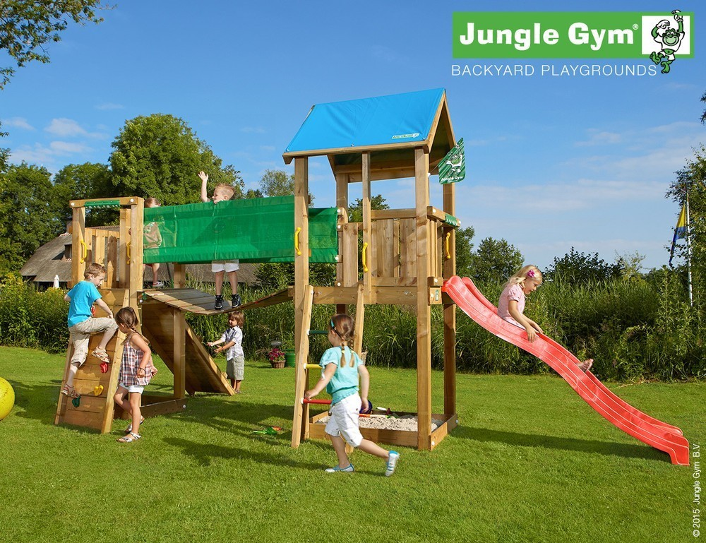 Jungle Gym | Castle + Bridge Module | DeLuxe | Rood