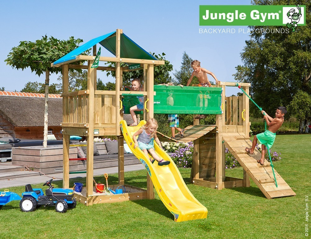 Jungle Gym | Hut + Bridge Module | DeLuxe | Geel