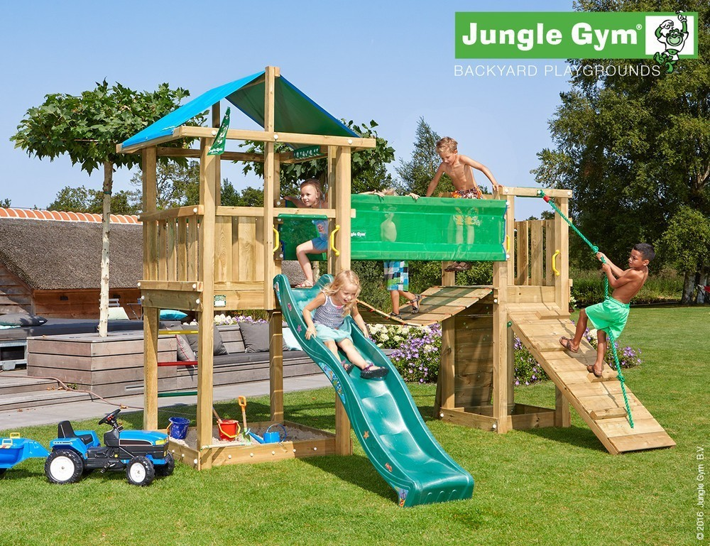 Jungle Gym | Hut + Bridge Module | DeLuxe | Donkergroen