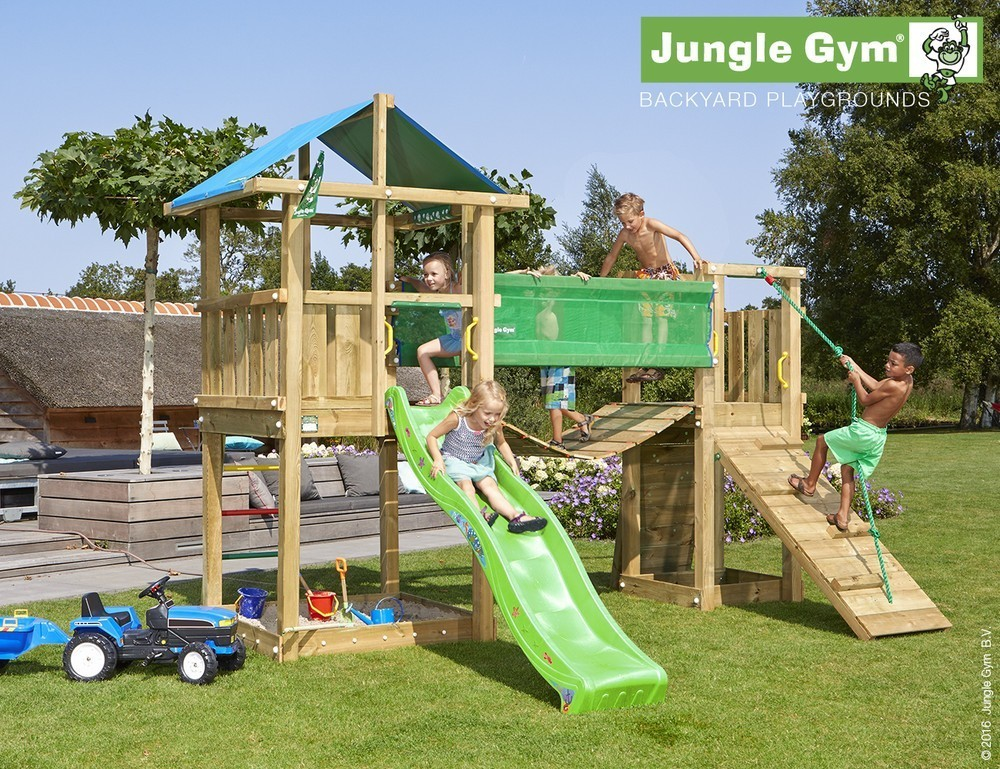 Jungle Gym | Hut + Bridge Module | DeLuxe | Lichtgroen