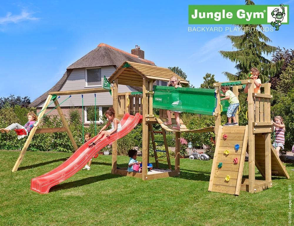 Jungle Gym | Cottage + Bridge Module + 2-Swing X'tra | DeLuxe | Lichtgroen