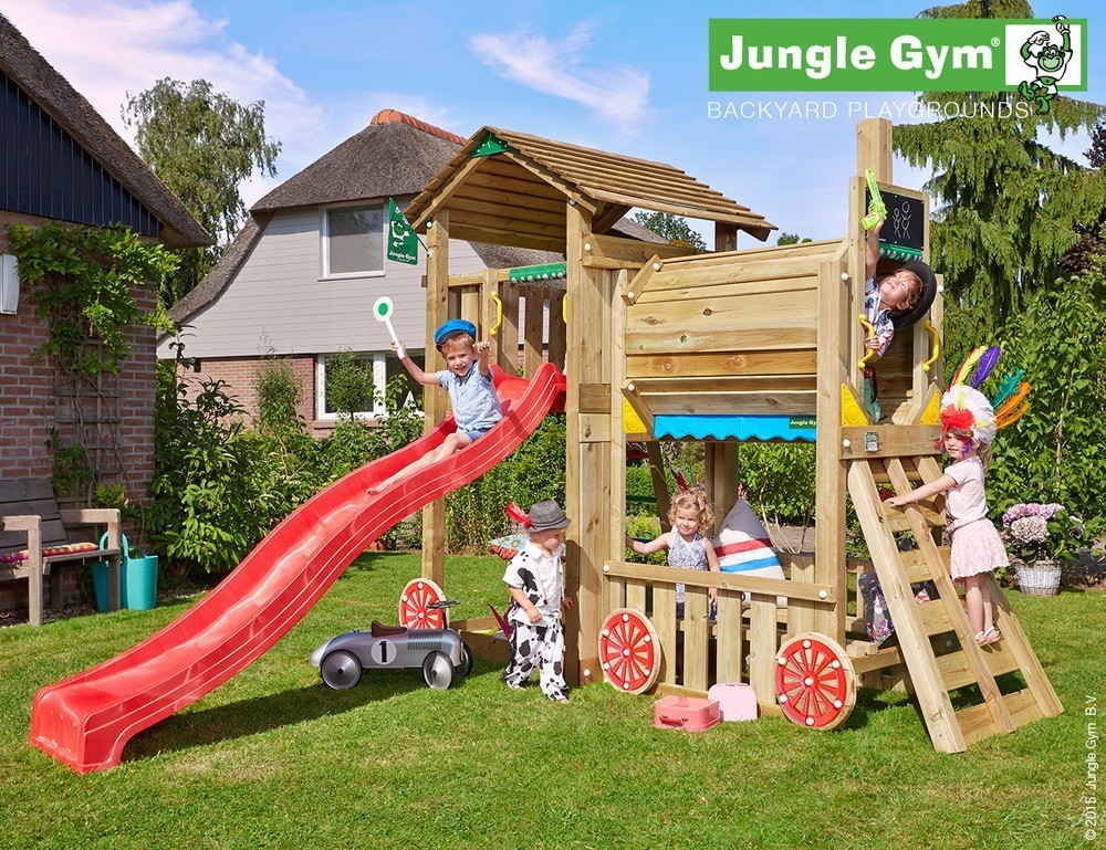 Jungle Gym   Cottage + Train Module   DeLuxe   Rood