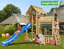 Jungle Gym | Cabin + Train Module | DeLuxe | Blauw