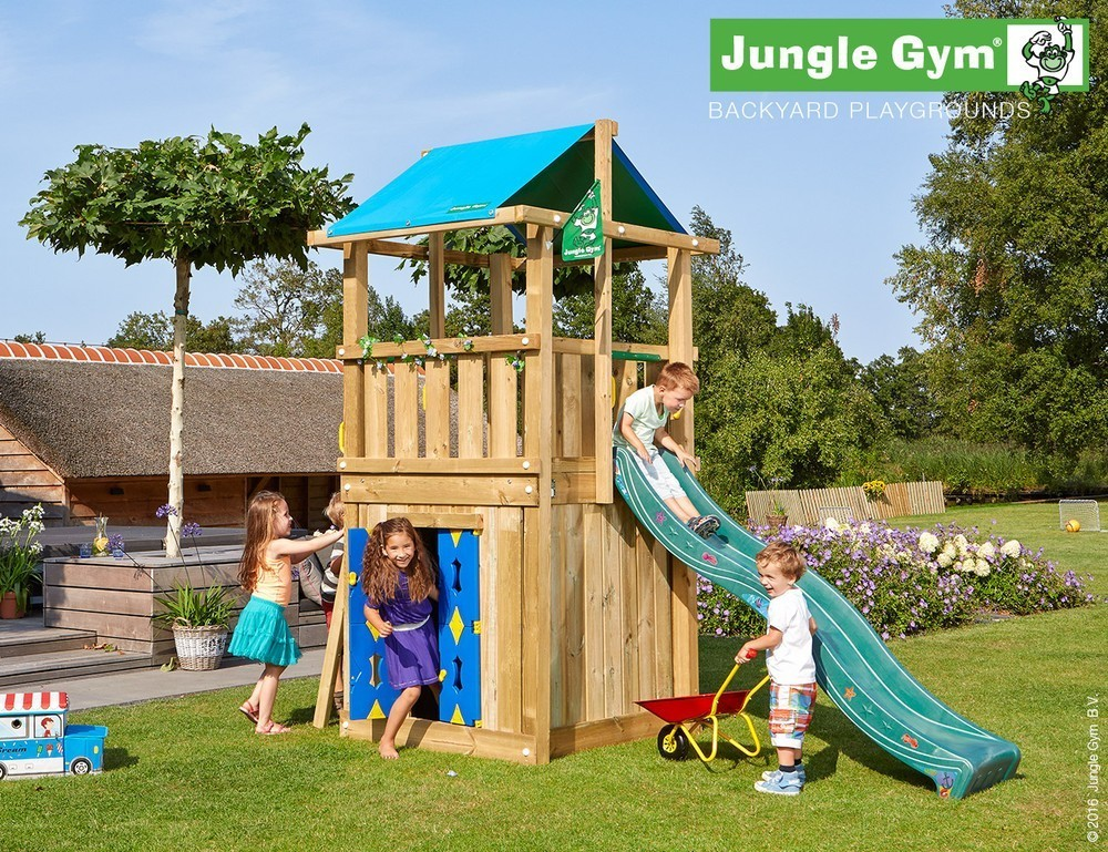 Image of Jungle Gym | Hut + Playhouse 125 | DeLuxe | Donkergroen