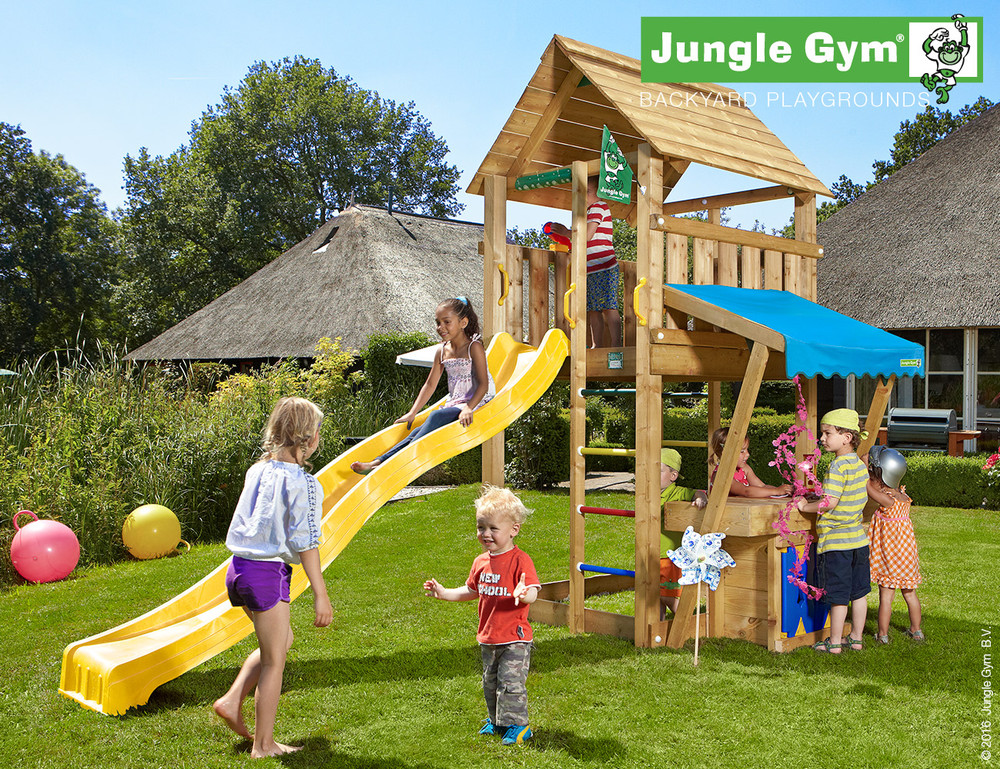 NuBuiten.nl.  Jungle Gym | Cabin Mini Market Module | DeLuxe | Lichtgroen