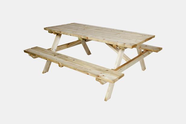 CarpGarant | Vuren picknicktafel 180 cm | Bank opklapbaar