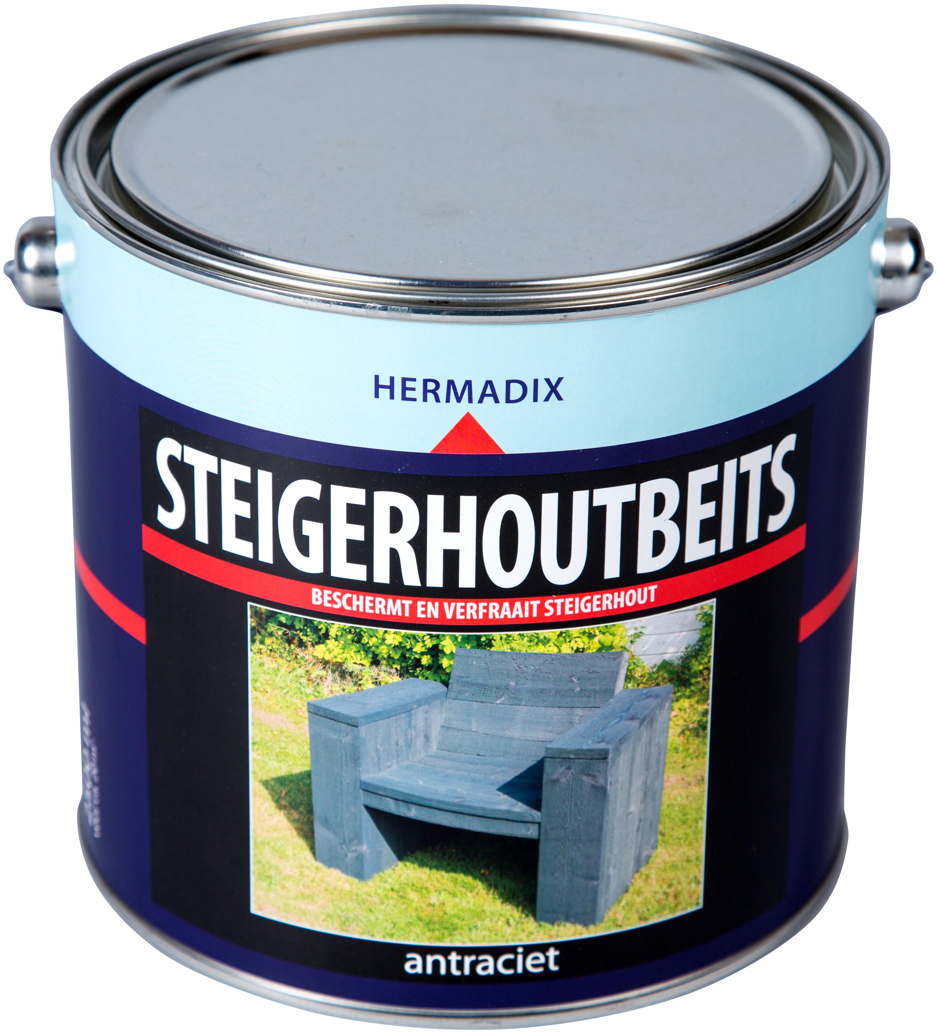 Hermadix   Steigerhouten beits Antraciet   2500 ml