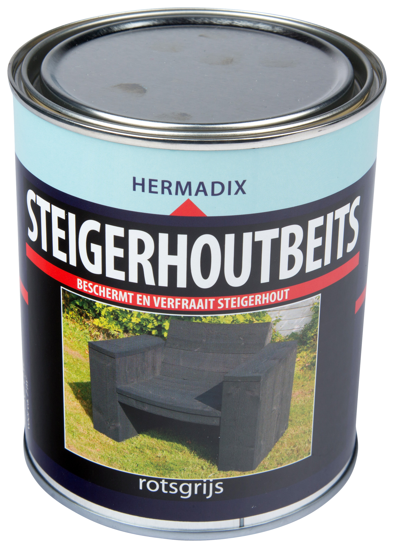 Hermadix   Steigerhouten beits Rots Grijs   750 ml