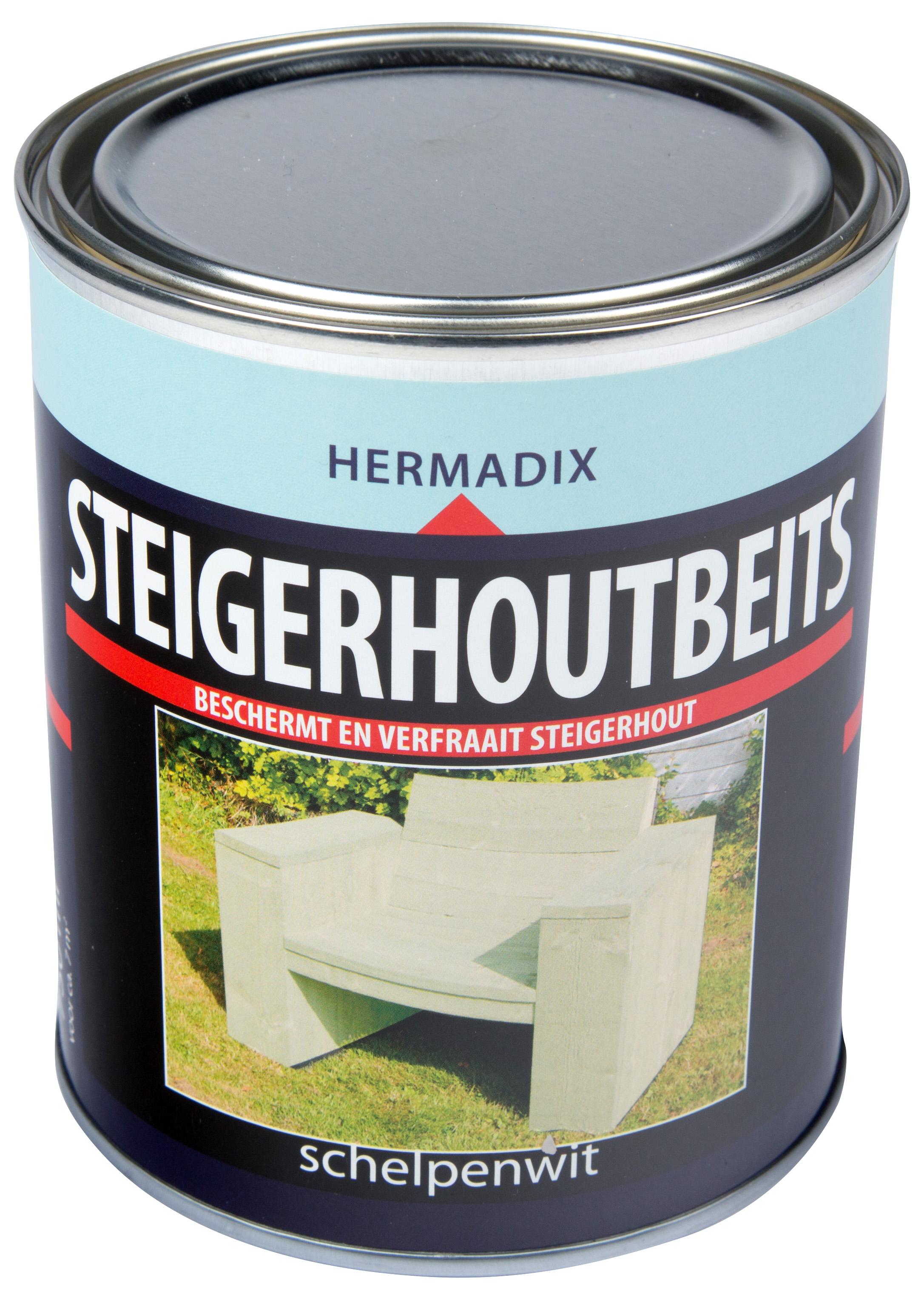 Hermadix   Steigerhouten beits Schelpen Wit   750 ml