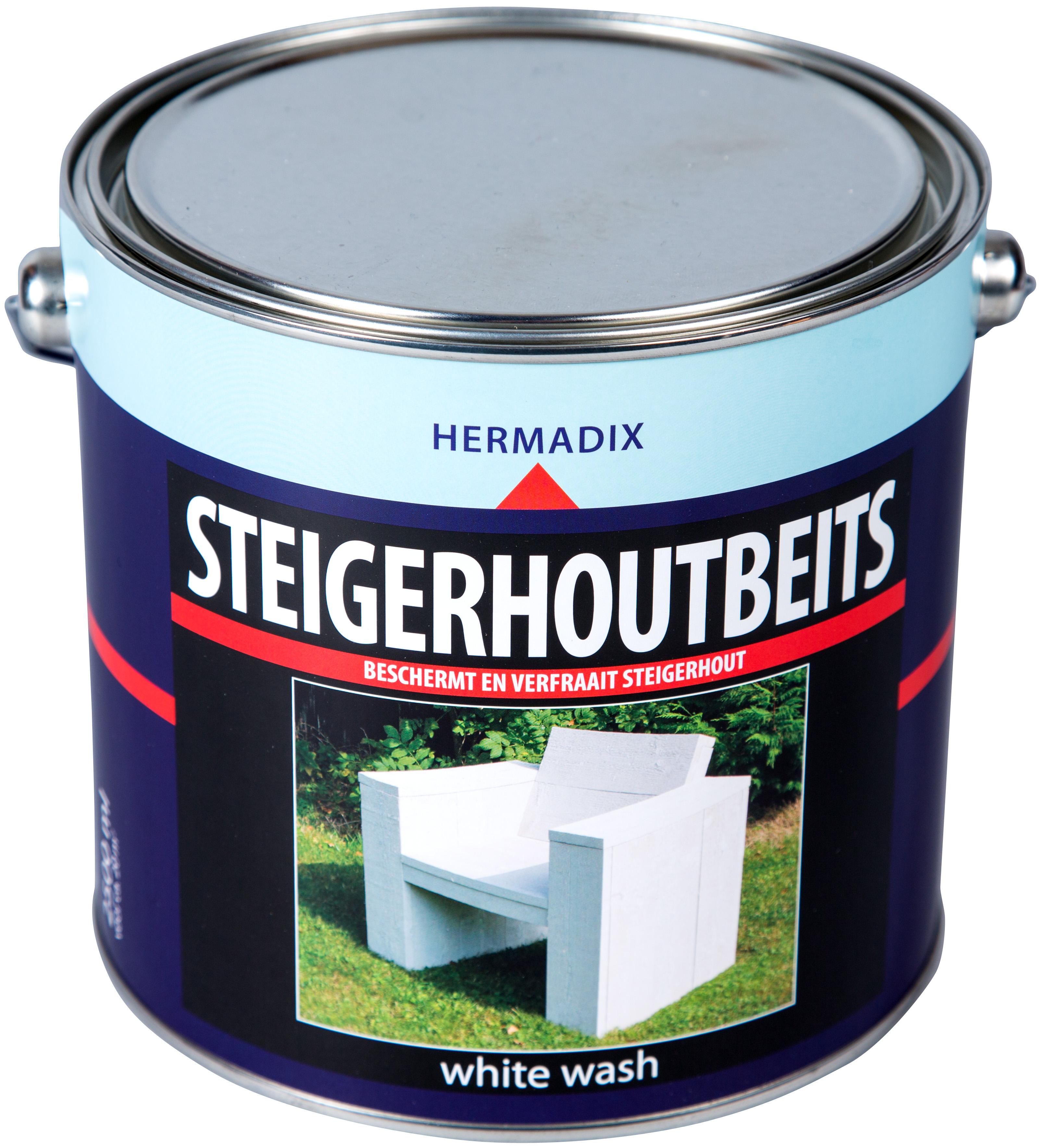 Hermadix   Steigerhouten beits White Wash   2500 ml